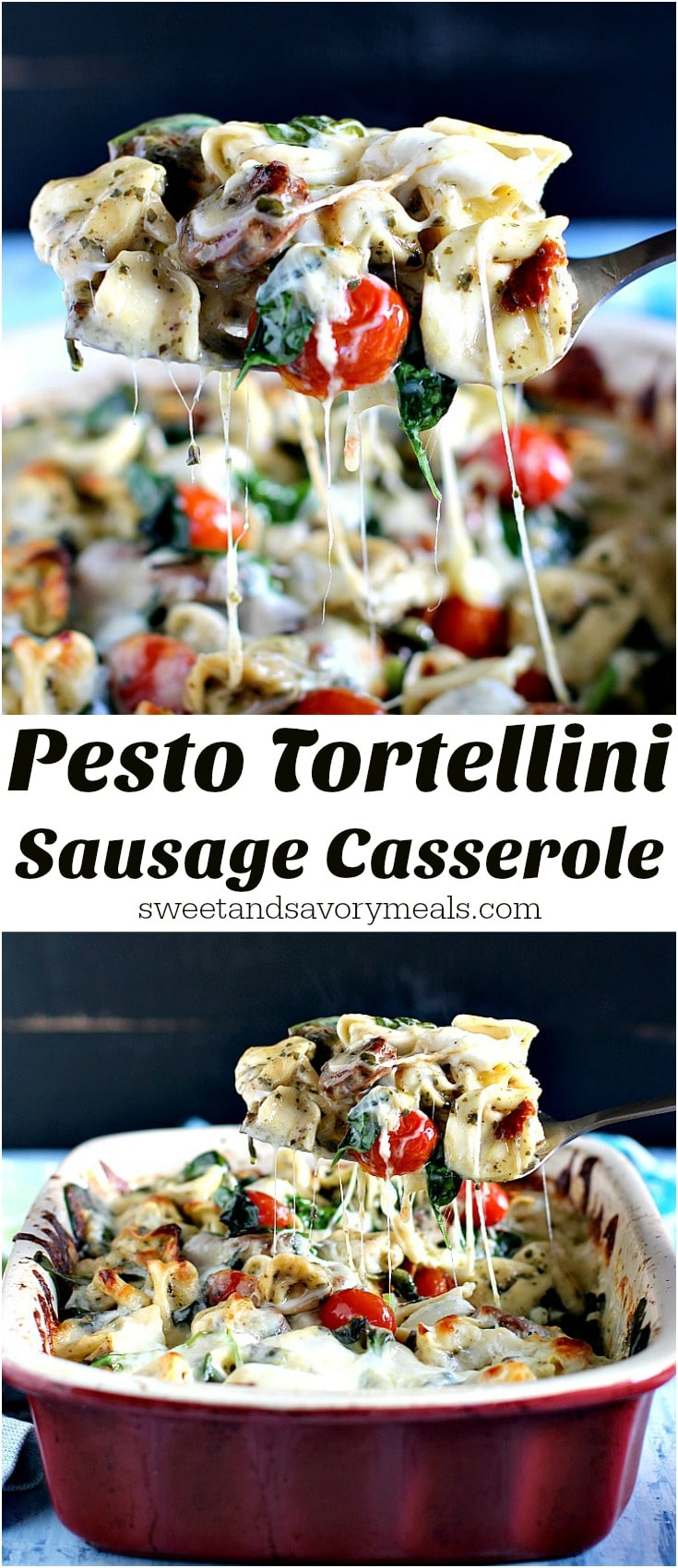 Sausage Pesto Tortellini Casserole made with 6 Ingredients only, is full of flavor, hearty and perfect for delicious and quick weeknight dinners.