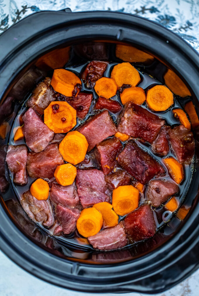 Photo of how to make slow cooker beef teriyaki.