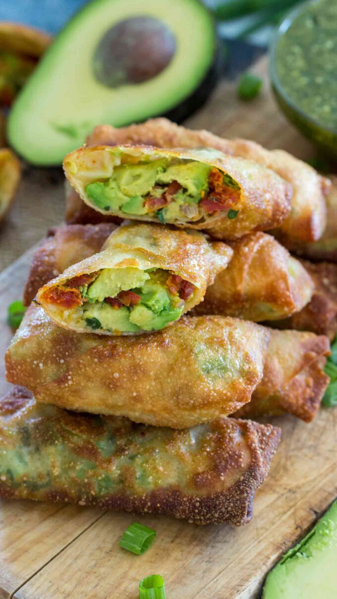 Photo of homemade avocado egg rolls.