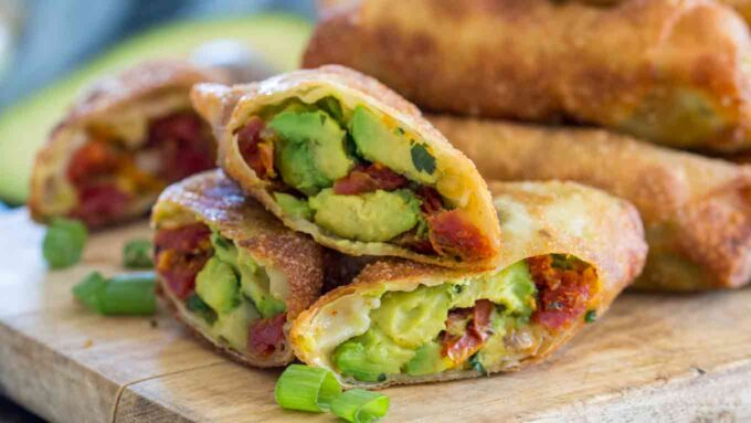 Photo of copycat cheesecake factory avocado egg rolls.