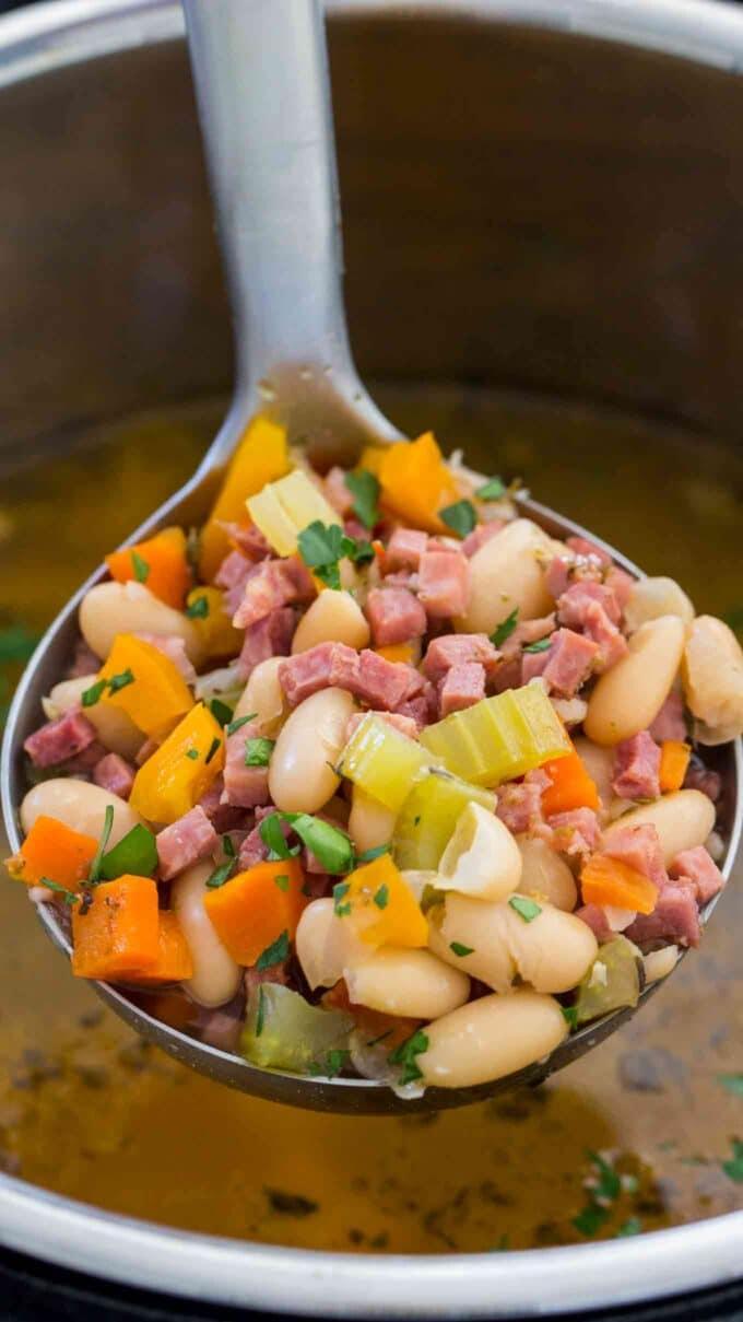 Image of instant pot ham ad bean soup.
