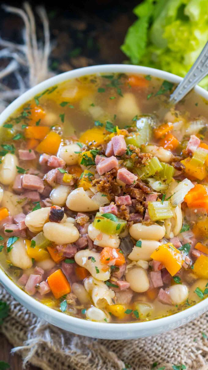 Photo of homemade ham and bean soup in a bowl.