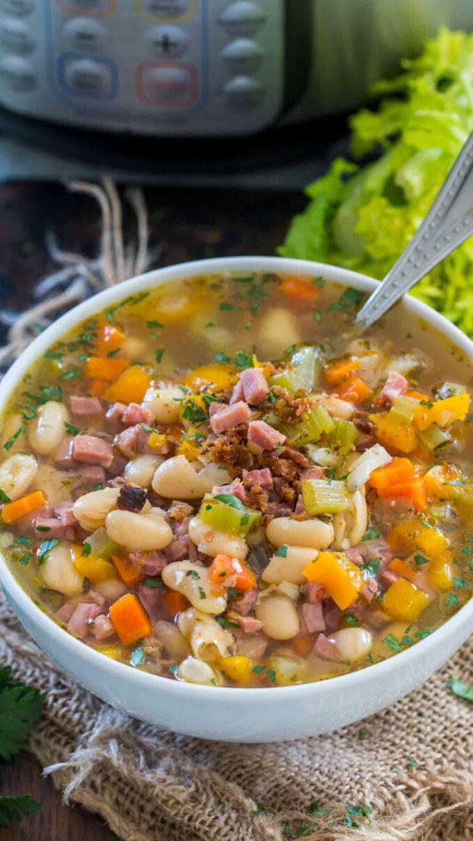 Instant pot ham and bean soup photo.