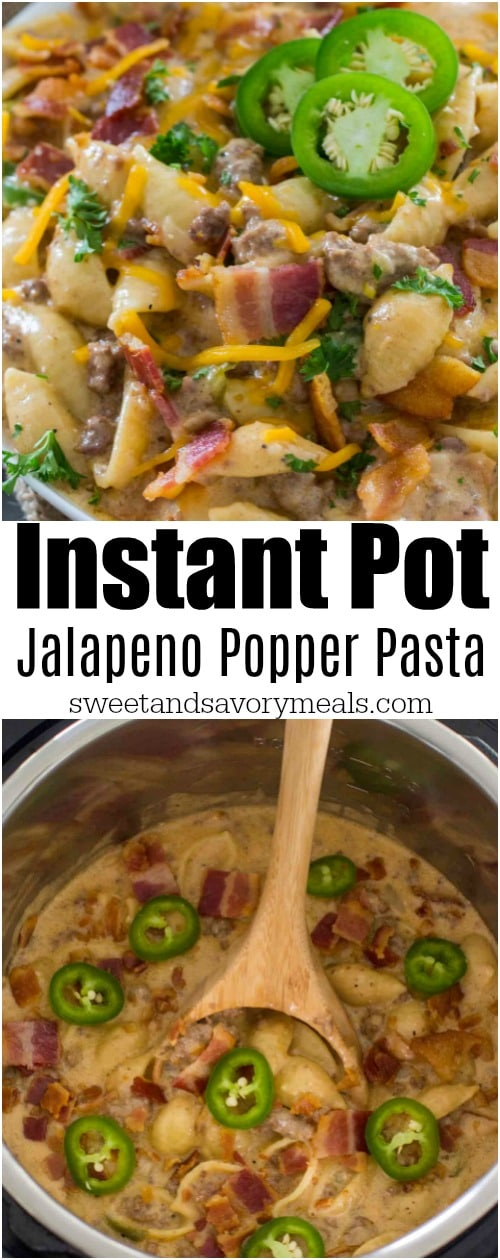 Instant Pot Jalapeño Popper Pasta is extra creamy and cheesy with a touch of spiciness from the jalapeños. A perfect one pot, hearty and delicious 30 minute dinner.