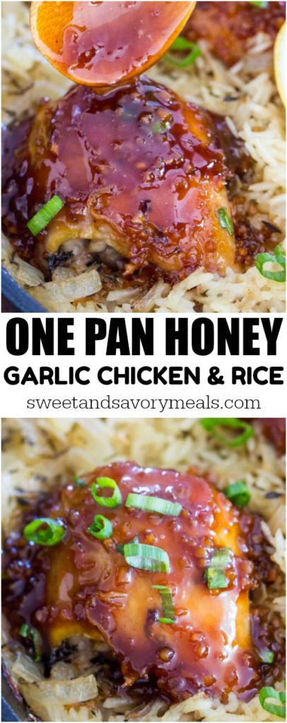 Photo of one pan honey garlic chicken and rice.