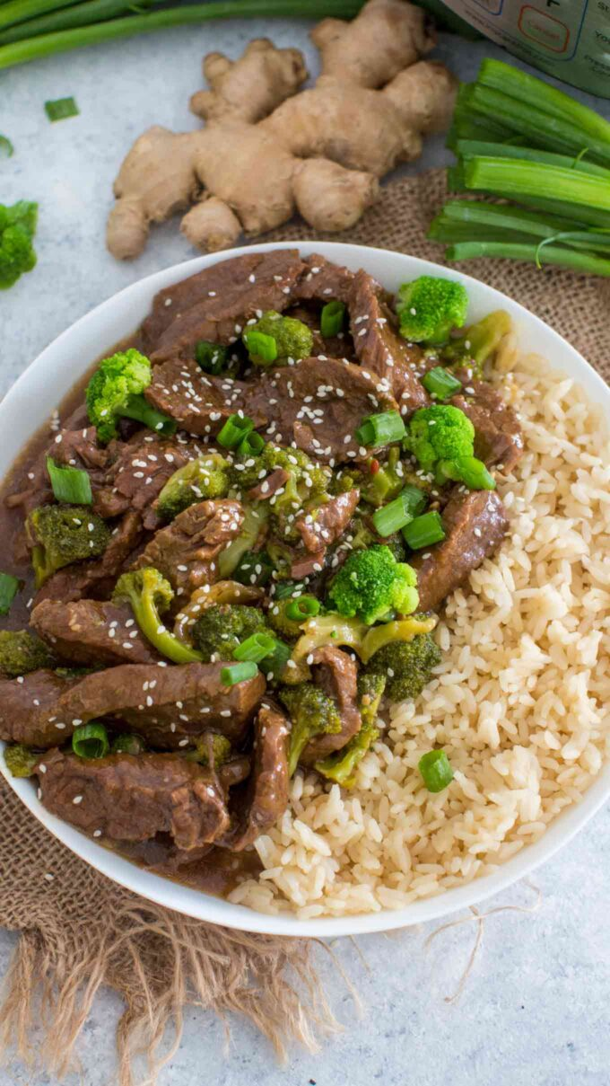 Picture of instant pot beef and broccoli over brown rice.