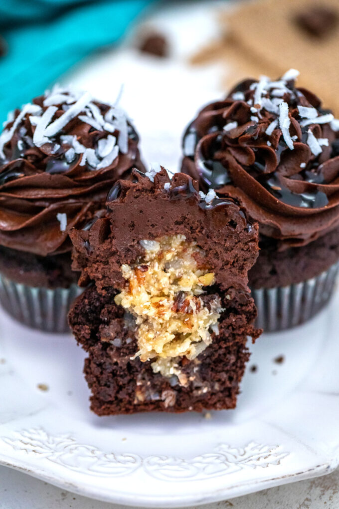 Photo of German chocolate cupcakes with coconut filling.