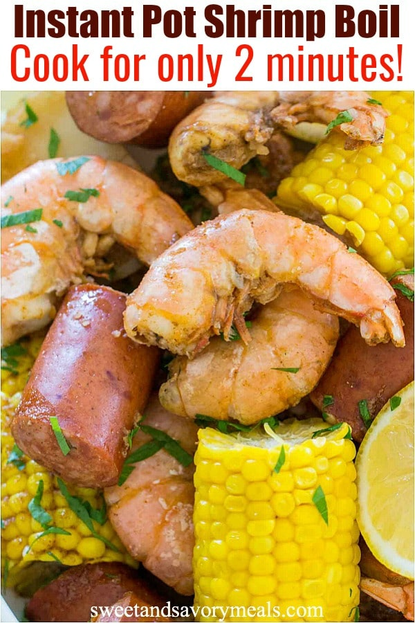 Picture of shrimp boil made in the pressure cooker.