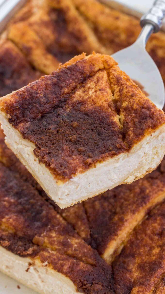 Homemade sopapilla cheesecake with cinnamon