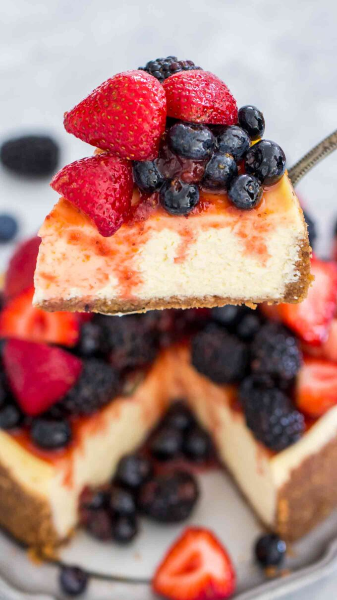 Photo of a slice of instant pot cheesecake.