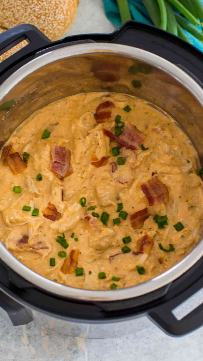 Photo of crack chicken with bacon cooked in the pressure cooker.