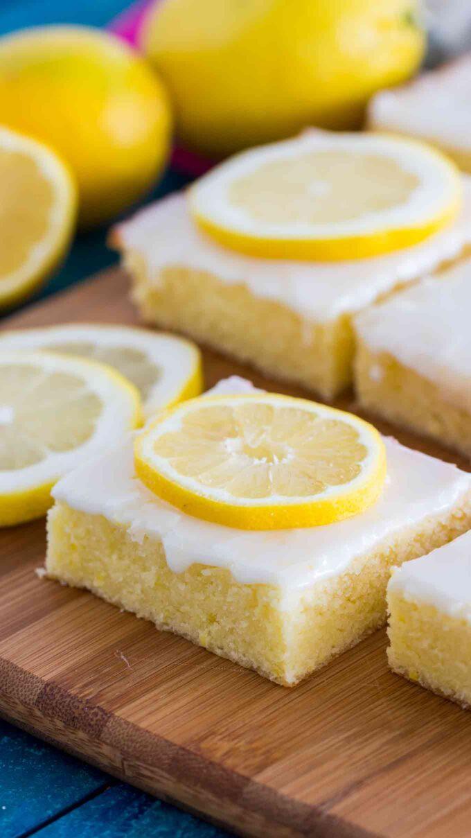Image of lemon brownies with lemon glaze.