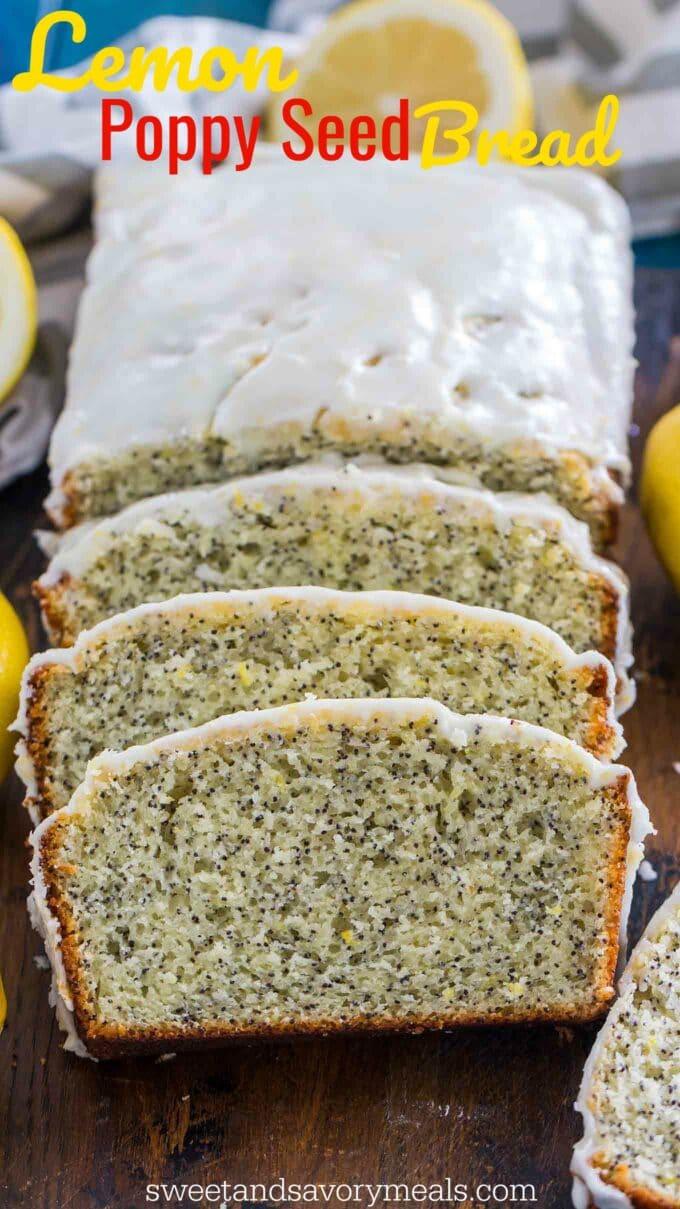Image of glazed lemon poppy seed bread.