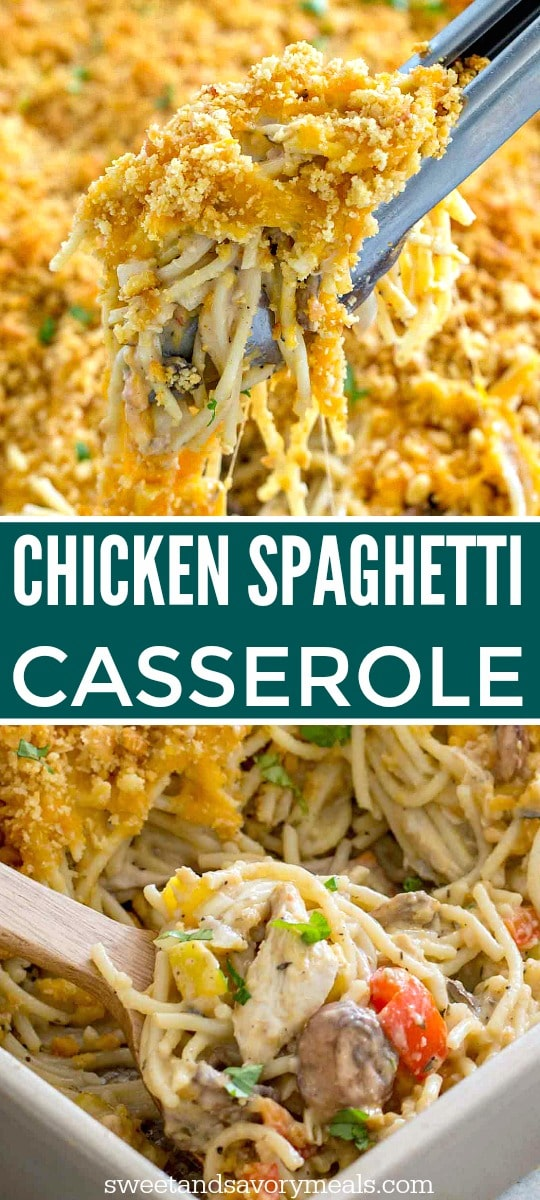 Picture of chicken spaghetti casserole.
