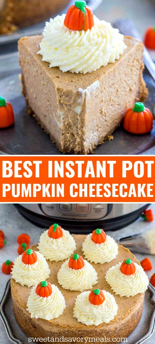 Photo of instant pot pumpkin cheesecake for pinterest.