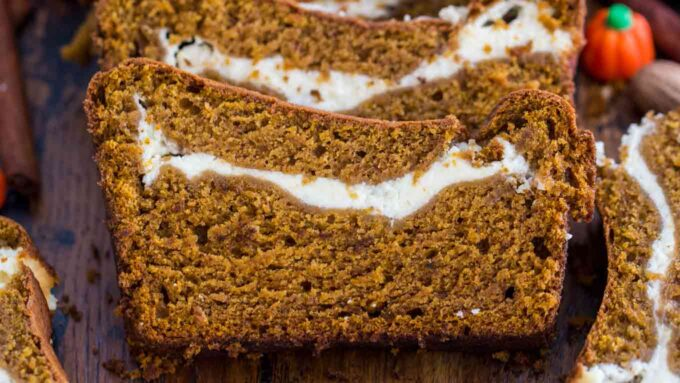 Easy Pumpkin Bread with Cream Cheese Filling