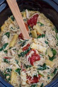 Slow Cooker Tuscan Chicken Pasta