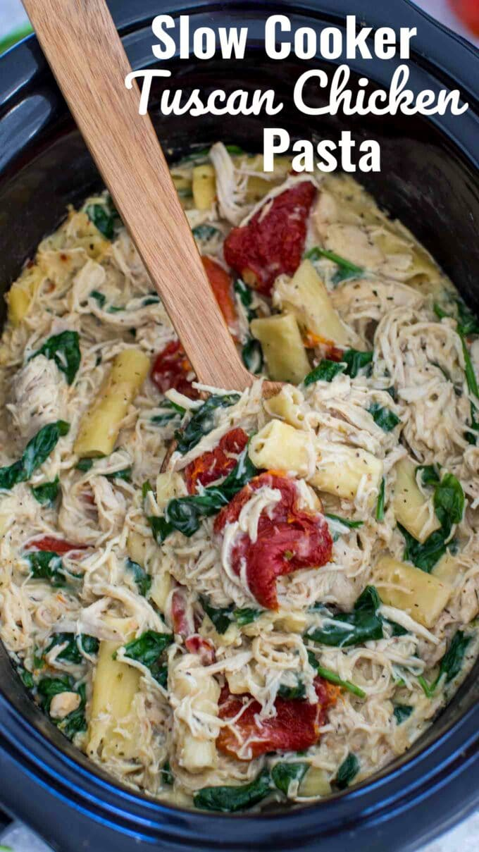 Slow Cooker Tuscan Chicken Pasta