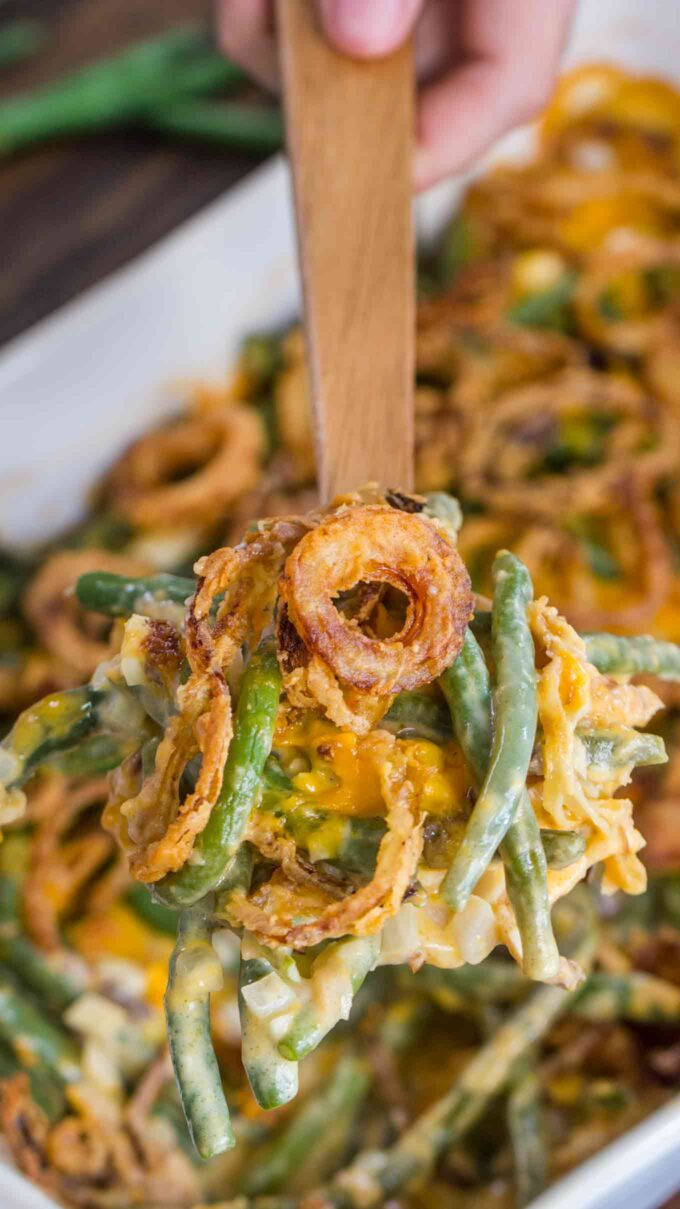 Photo of green bean casserole on a spoon.