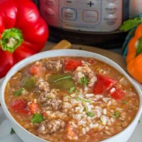 Easy Instant Pot Stuffed Pepper Soup