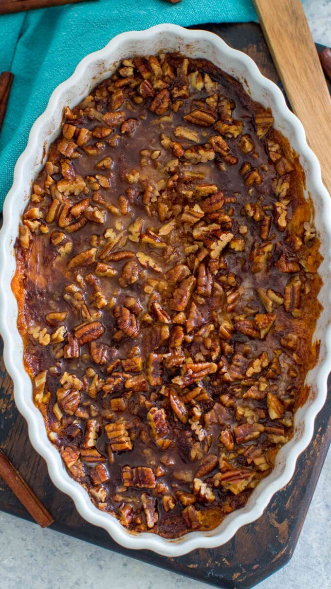 image of baked sweet potato souffle with pecans