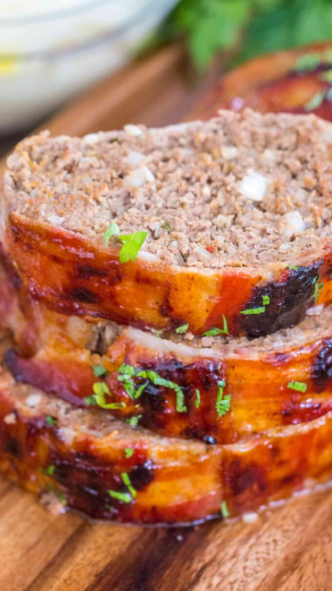 Image of bacon wrapped meatloaf.
