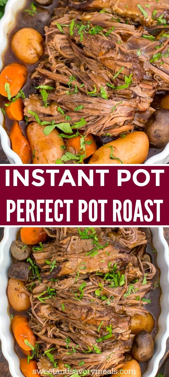 image of instant pot pot roast with veggies and potatoes for instagram