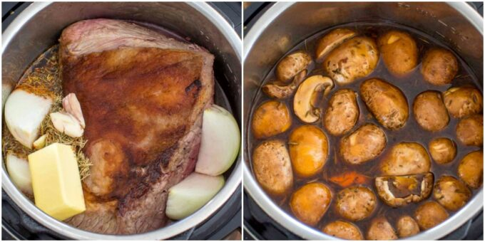 image of how to cook pot roast and potatoes in the instant pot