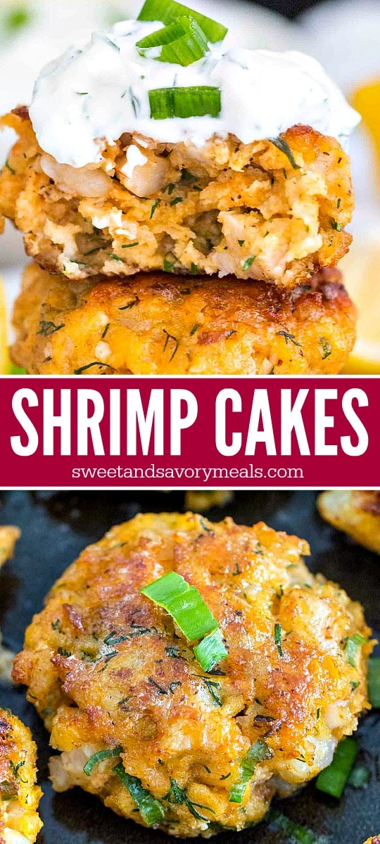 Image of shrimp cakes with aioli sauce for pinterest.