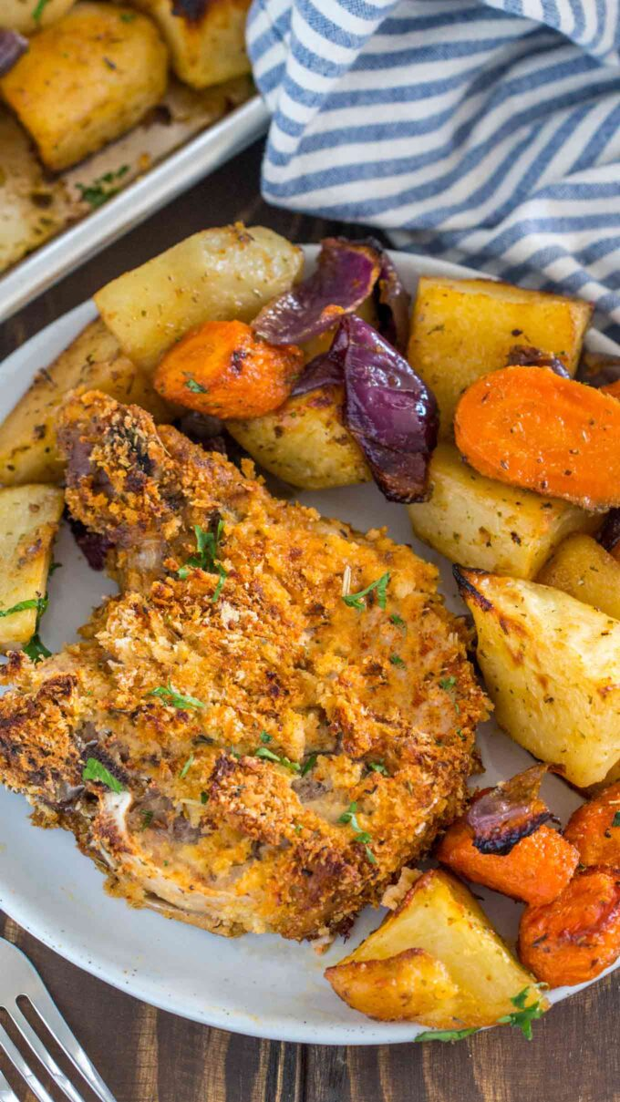 Image of shake and bake pork chops with potatoes and carrots.