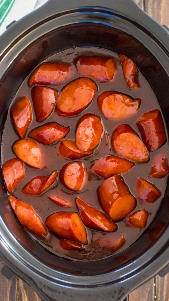 Picture of kielbasa cooked in the crockpot.