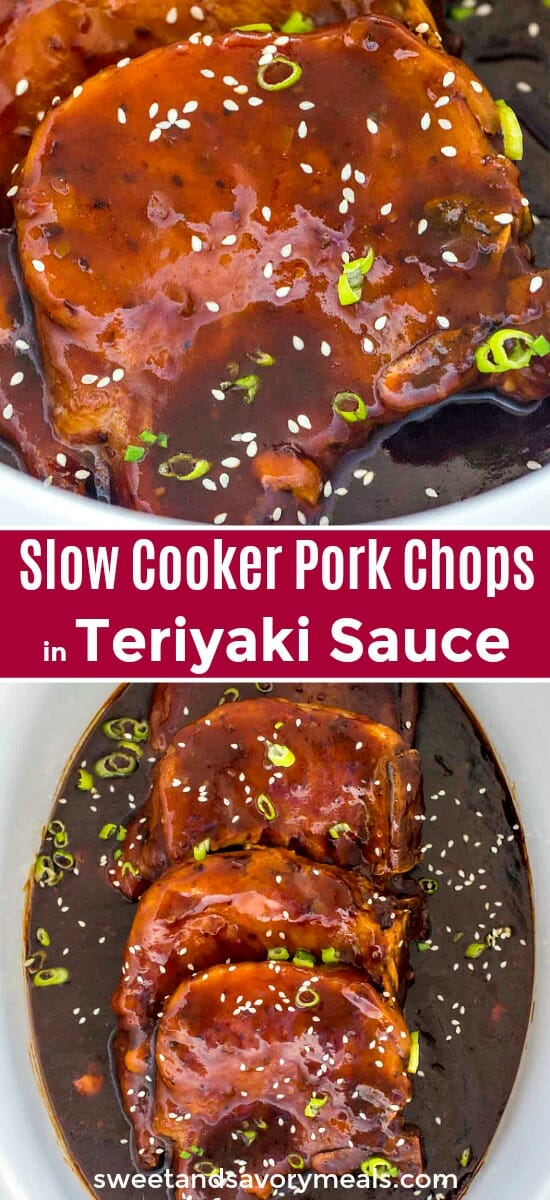 Slow cooker pork chops image for pinterest.