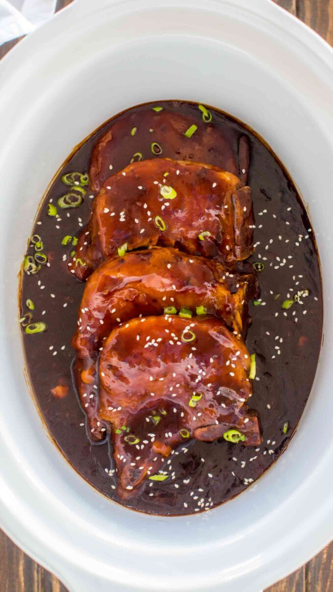 Image of slow cooker pork chops in teriyaki sauce.