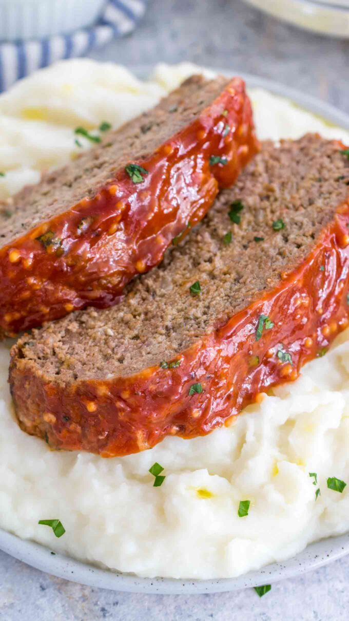 picture of homemade meatloaf with mashed potatoes