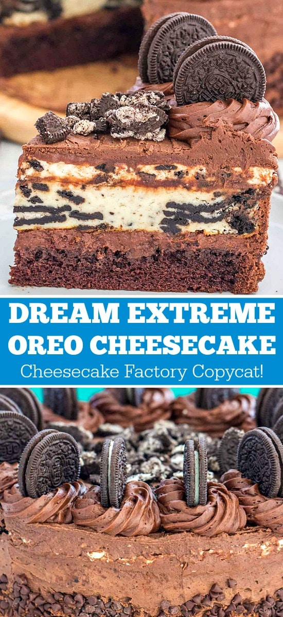 Photo of oreo cheesecake topped with a layer of chocolate ganache