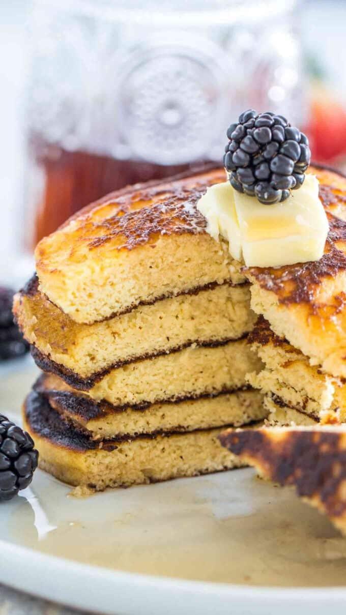Photo of sliced keto pancakes.