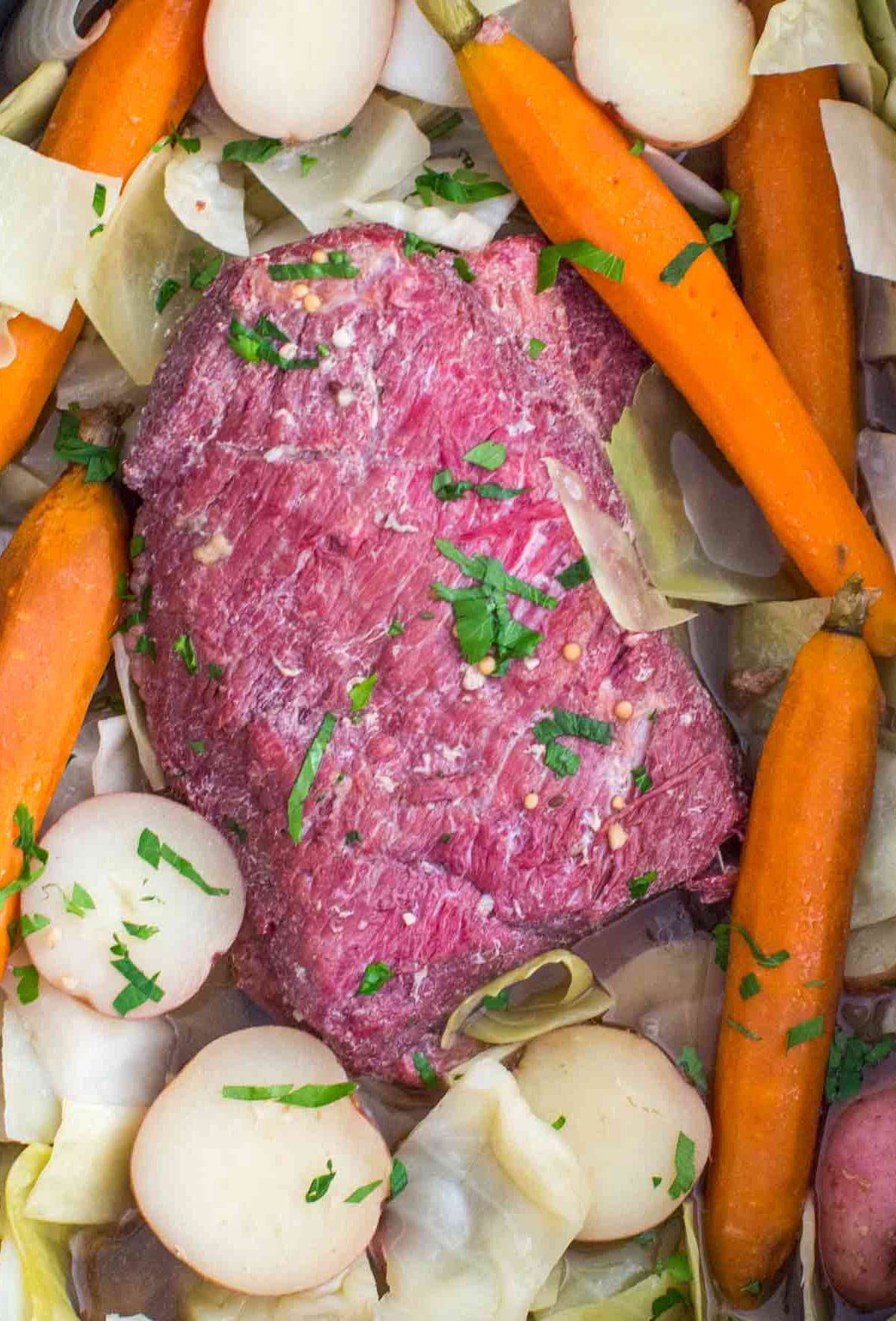 Slow Cooker Corned Beef With Cabbage Video Sweet And Savory Meals