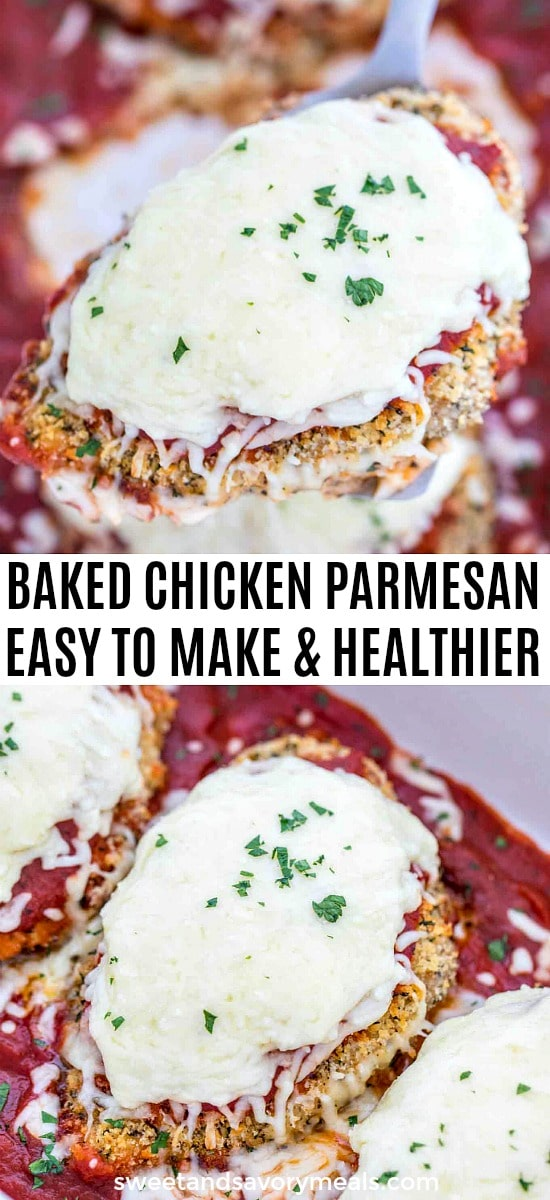 Healthy Baked Chicken Parmesan made in the oven
