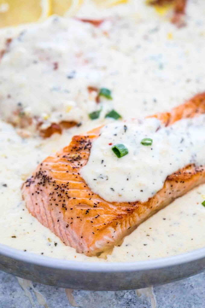 Photo of salmon in a white creamy sauce.