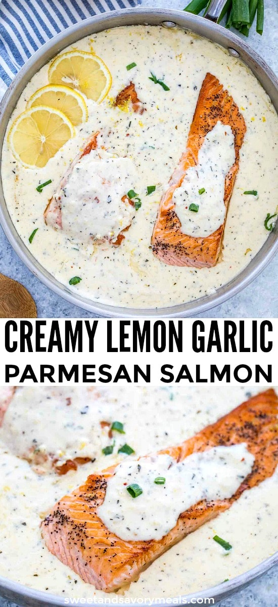 Image of one pan salmon in a creamy garlic sauce.