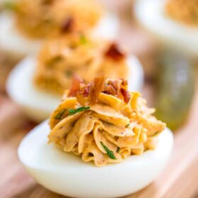 Homemade Deviled Eggs with green onions and bacon