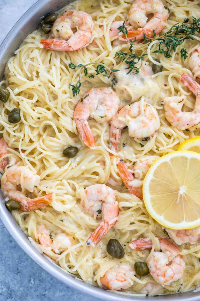 Image of shrimp pasta in a creamy garlic parmesan sauce.