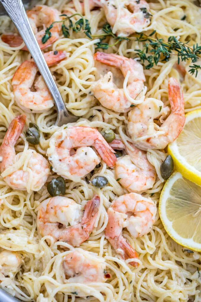 Image of lemon garlic parmesan shrimp pasta.