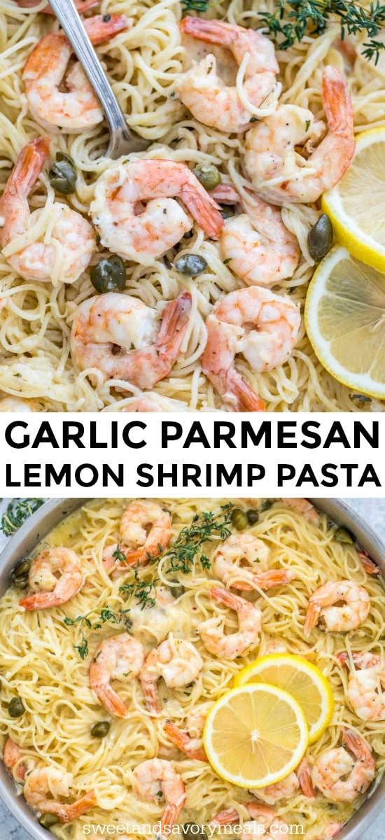 Photo of garlic parmesan shrimp pasta in a creamy sauce.