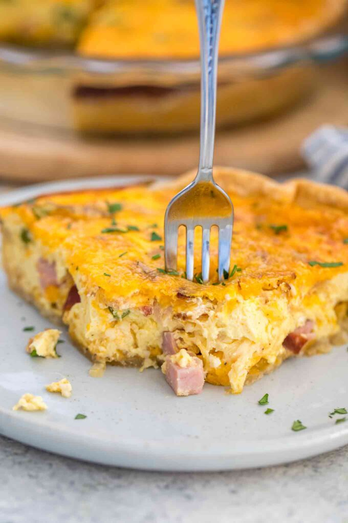 Ham and Cheese Quiche Recipe with Bacon