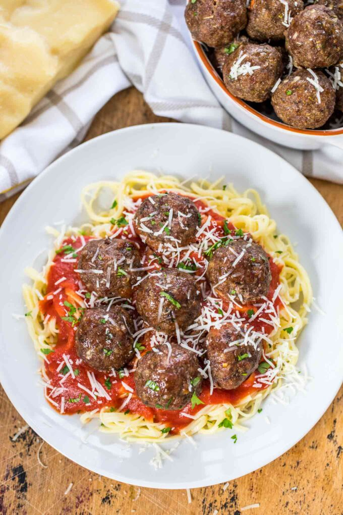 Best homemade meatballs over pasta and red sauce