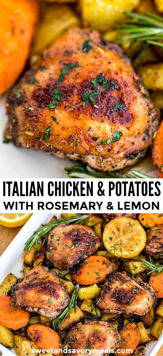 Picture of chicken and potatoes with herbs.