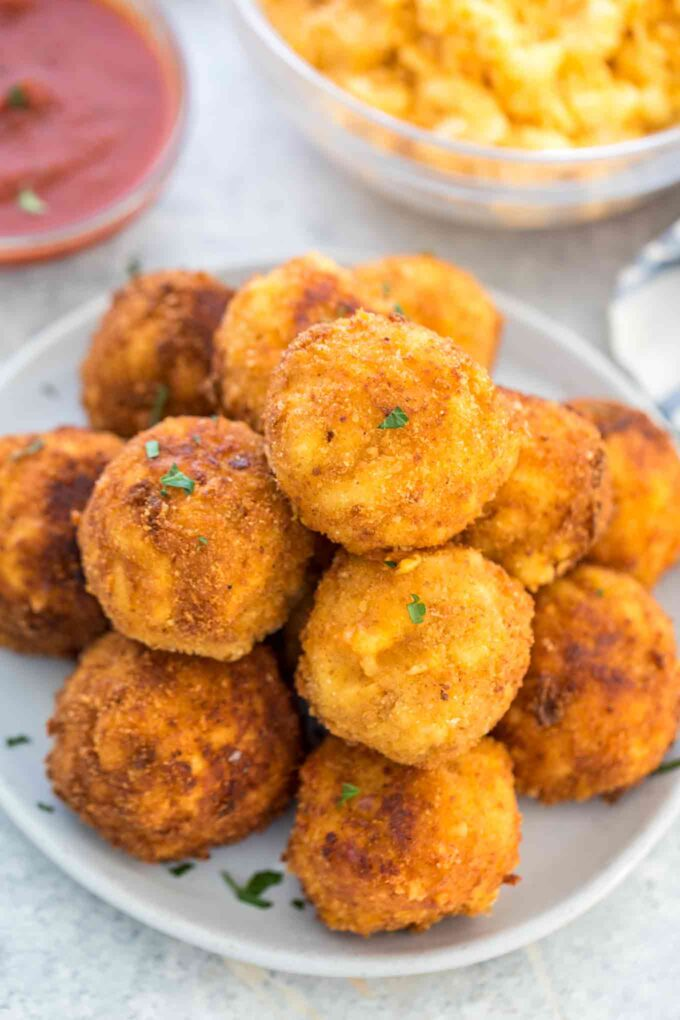 Image of homemade mac and cheese balls.