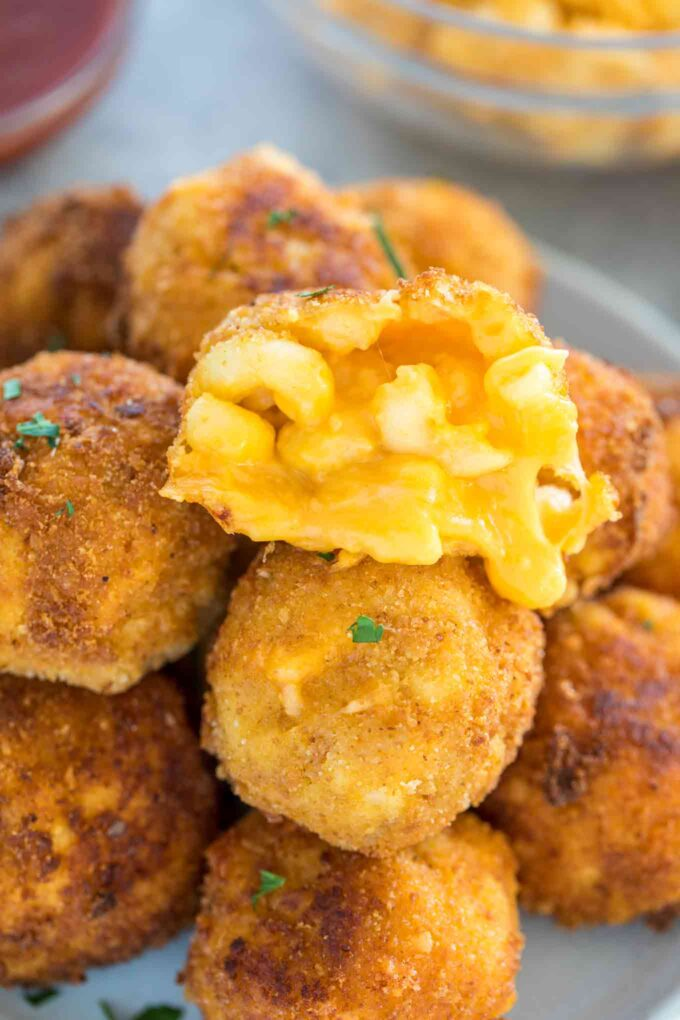 Photo of homemade cheesy mac and cheese balls.