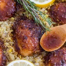 One Pan Honey Garlic Lemon Chicken and Rice
